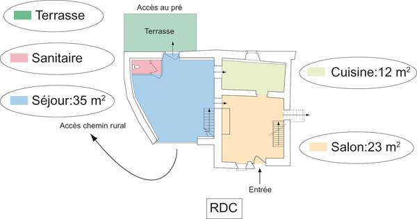 Détails des pièces du rez-de-chaussée du gîte et chambres d'hôtes de Lasgorceix